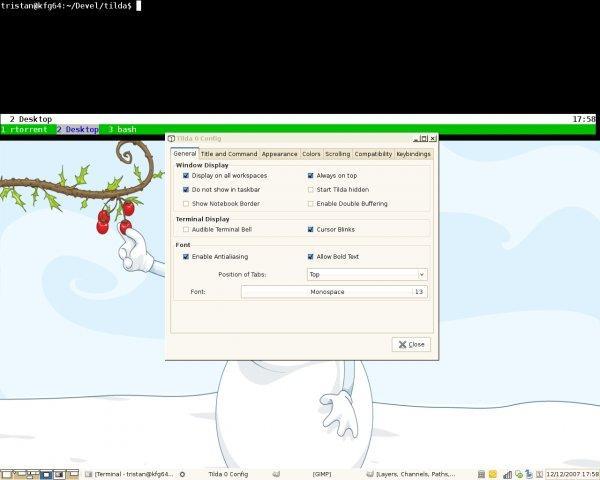 Screenshot de Tilda et des préférences