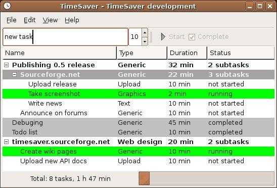 TimeSaver screenshot