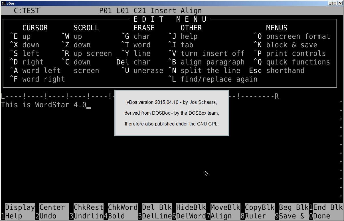 vDos / Discussion / General: Wordstar V4 00 runs in vDos v