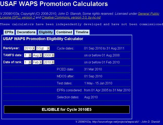 Usaf Waps Enlisted Promotion Calculators Wiki Home