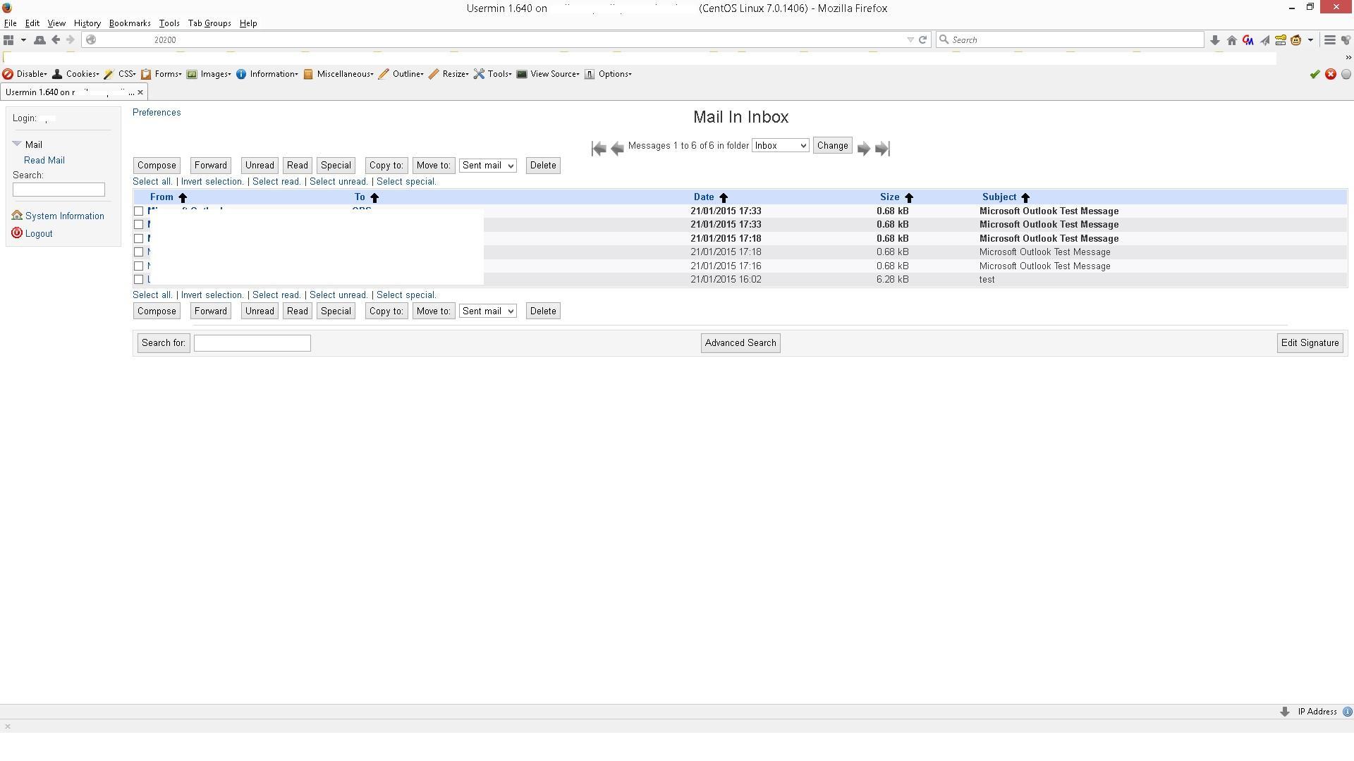 Webmin / Bugs / #4557 Usermin Gray Framed Themed Error Read Mail ...