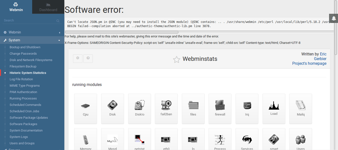 Webmin System stats / Bugs / #90 Can't locate JSON pm