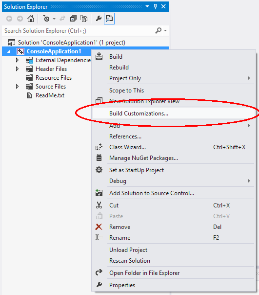 Win flex bison wiki visual studio custom build rules launch visual studio and open an vc project open context menu for project item in solution explorer panel and select build customizations menu item ccuart Images