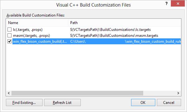 Win flex-bison / Wiki / Visual Studio custom build rules