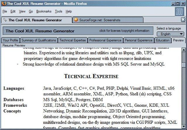 The Cool Xul Resume Generator Wiki Home