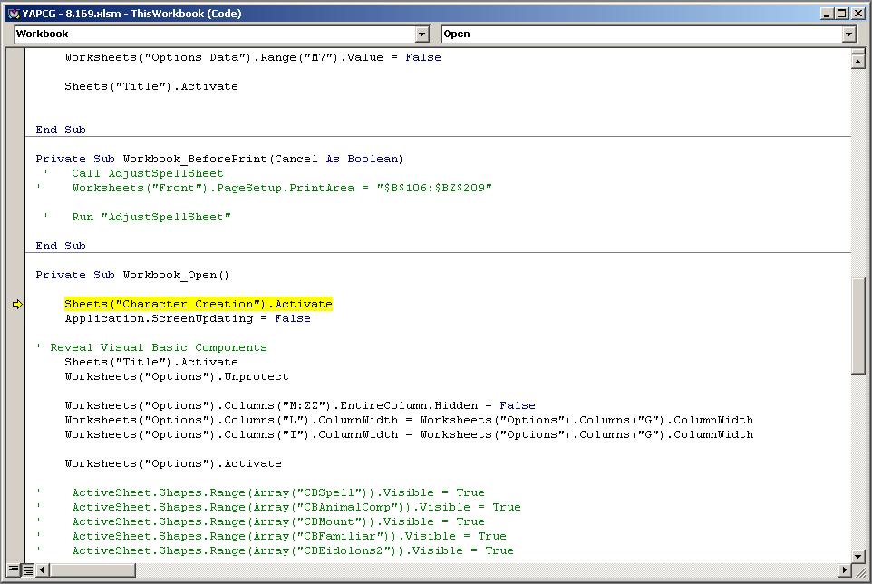 YAPCG / Bugs / #2771 Runtime 1004: Activate method of ...