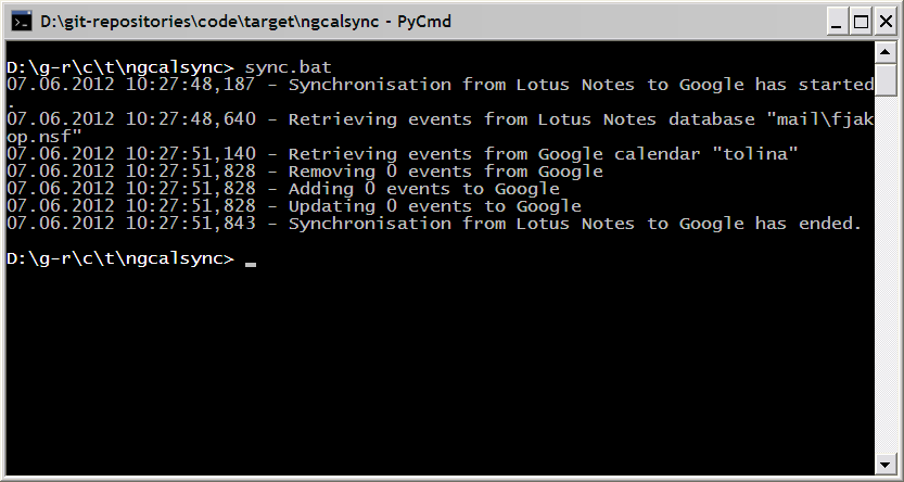 ngcalsync for Linux full screenshot
