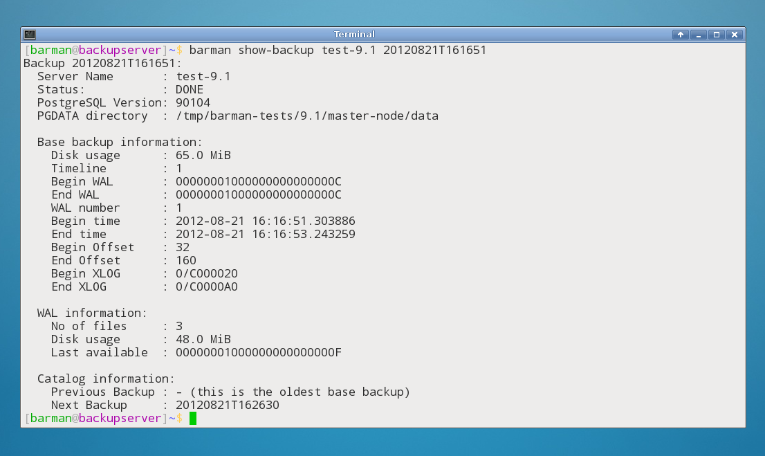 "An example of output from the ""barman show-backup"" command"